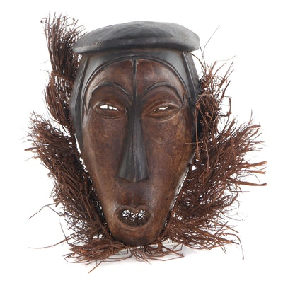 Fang Style Carved Wood African Mask, Central Africa