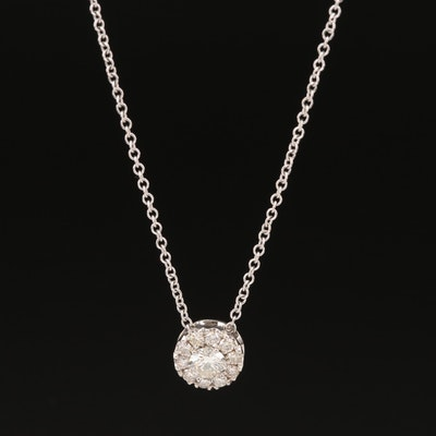 14K Diamond Pendant on 18K Chain Necklace