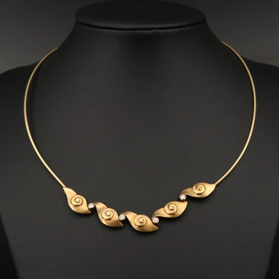 18K Diamond Swirl Collar Necklace