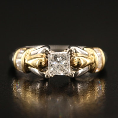 Platinum Diamond Ring with 18K Accents and 14K Prong Setting