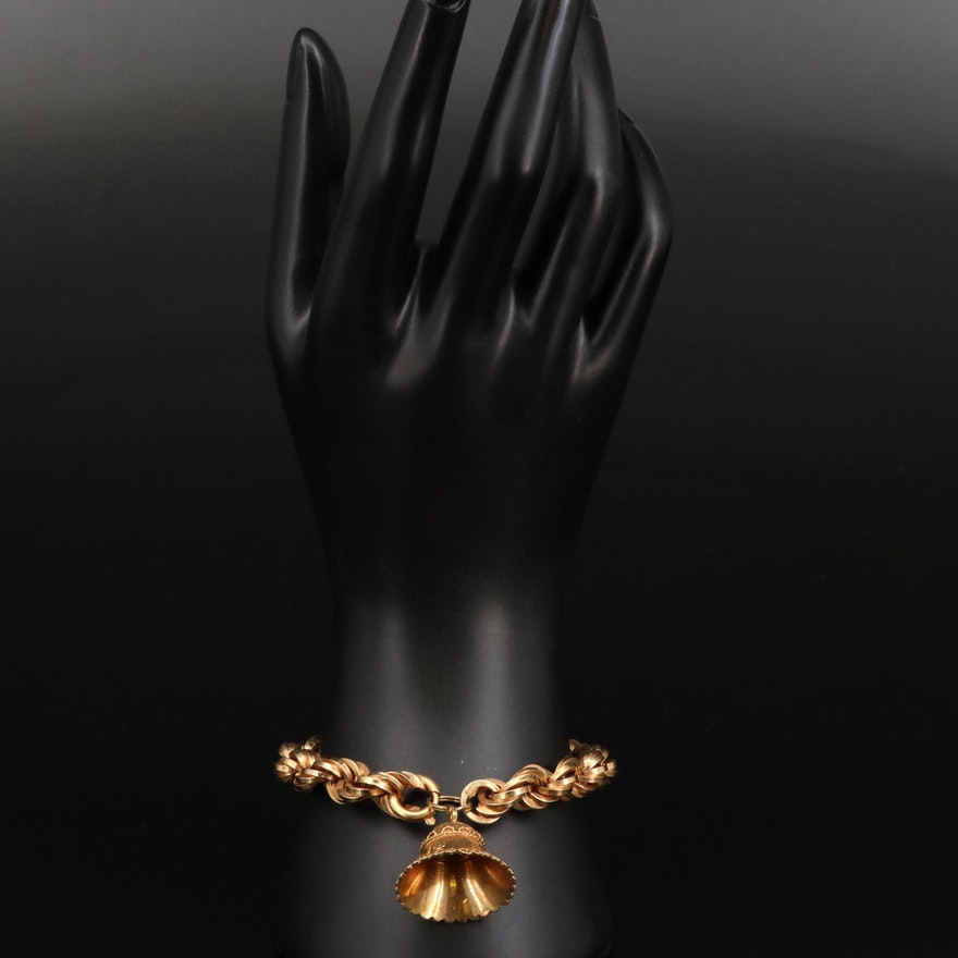 18K Rope Chain Bracelet with Bell Charm