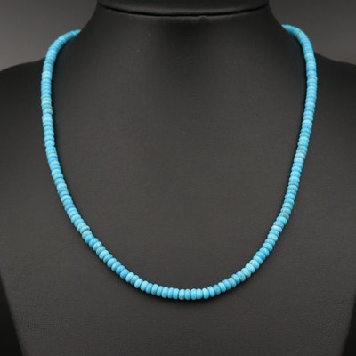 Turquoise Rondelle Bead Necklace with 14K Clasp