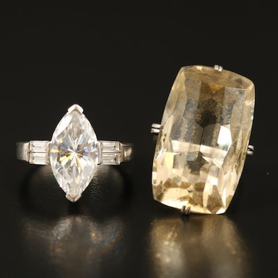 Sterling Citrine and Cubic Zirconia Rings