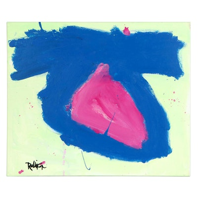 "Robbie Kemper Abstract Acrylic Painting ""Blue Knot Pink"""