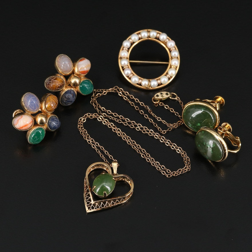 Vintage Jewelry Featuring Pearl, Nephrite and Tiger's Eye