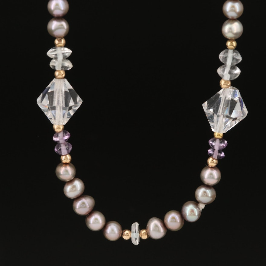 Pearl, Amethyst and Glass Necklace with 14K Spacer Beads