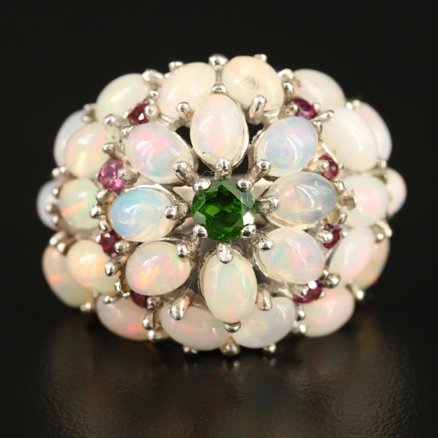 Sterling Silver Opal, Garnet and Diopside Bombé Ring