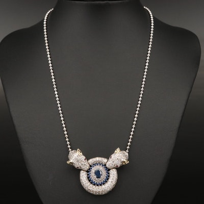14K Sapphire, 5.50 CTW Diamond and Ruby Panther Necklace with 1.26 CT Center