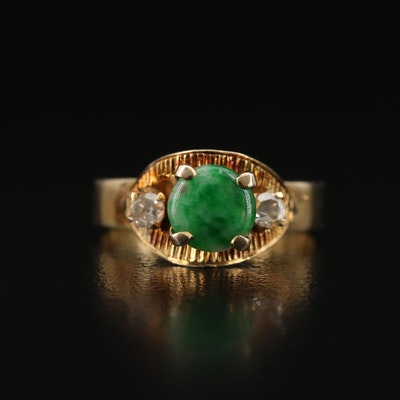 10K Jadeite and Diamond Ring