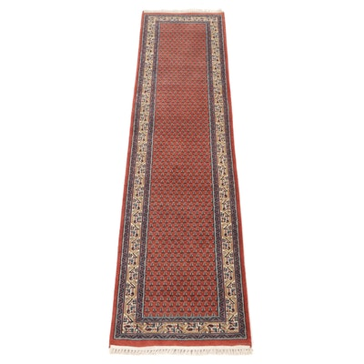 2'7 x 10'5 Hand-Knotted Indo-Persian Mir Wool Carpet Runner