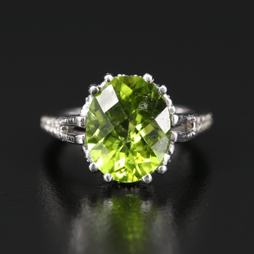 18K 5.76 CT Peridot and Diamond Ring