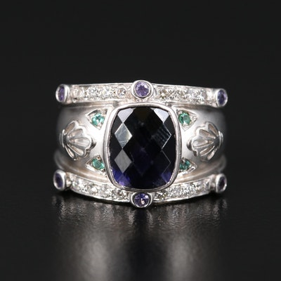 18K Iolite, Amethyst and Tourmaline Ring