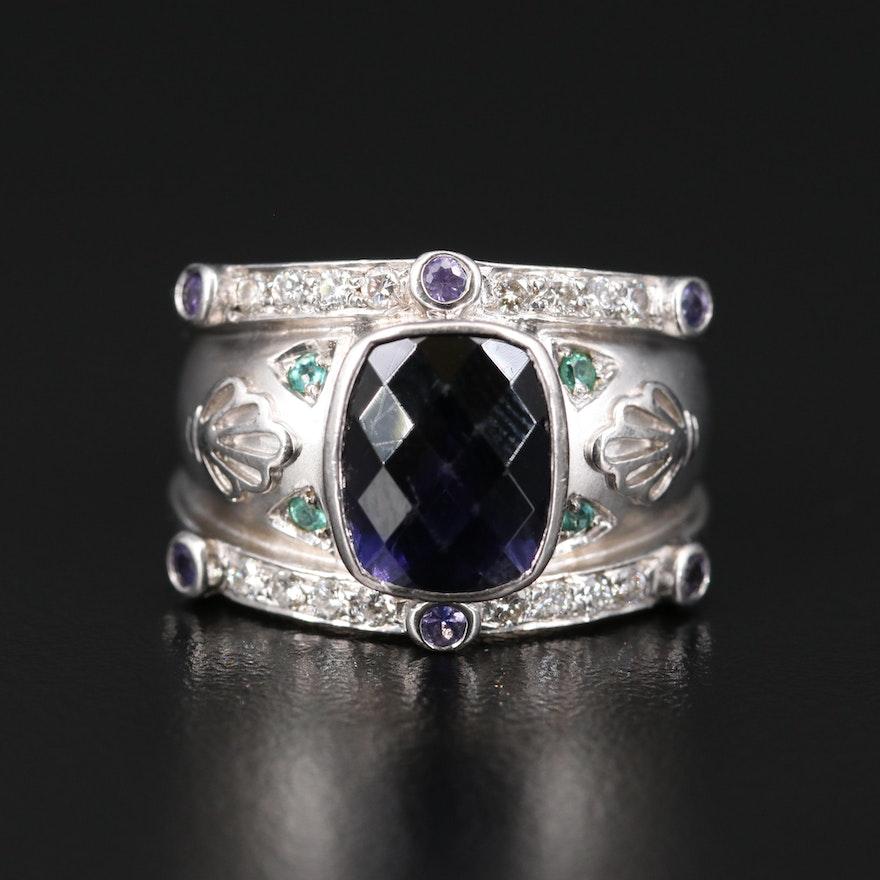 18K Iolite, Amethyst and Tourmaline Ring
