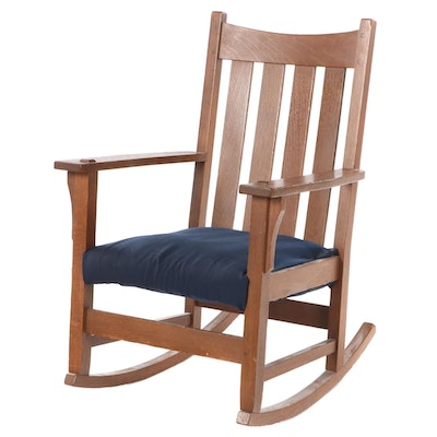 Arts & Crafts Style Oak Rocking Chair, Mid 20th Century