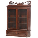 Victorian Walnut and Burl Walnut Bookcase, Late 19th Century
