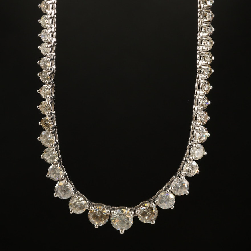 18K 13.71 CTW Diamond Graduated Rivière Necklace