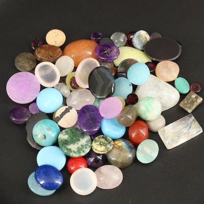 Loose Mixed Gemstones Including Garnet, Amethyst and Labradorite