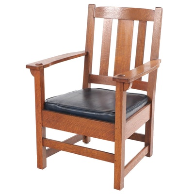 Charles P. Limbert Quartersawn Oak Armchair, Early to Mid 20th Century