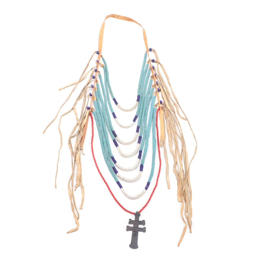 Northern Plains Style (Crow Type) Loop Necklace with Missouri Trade Cross