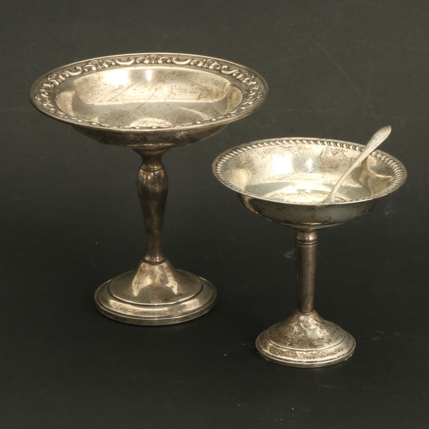 Gorham and National Weighted Sterling Silver Compotes and Dessert Fork