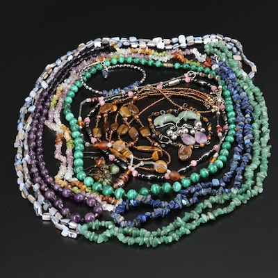 Gemstone Jewelry Featuring Malachite, Tiger's Eye and Amethyst