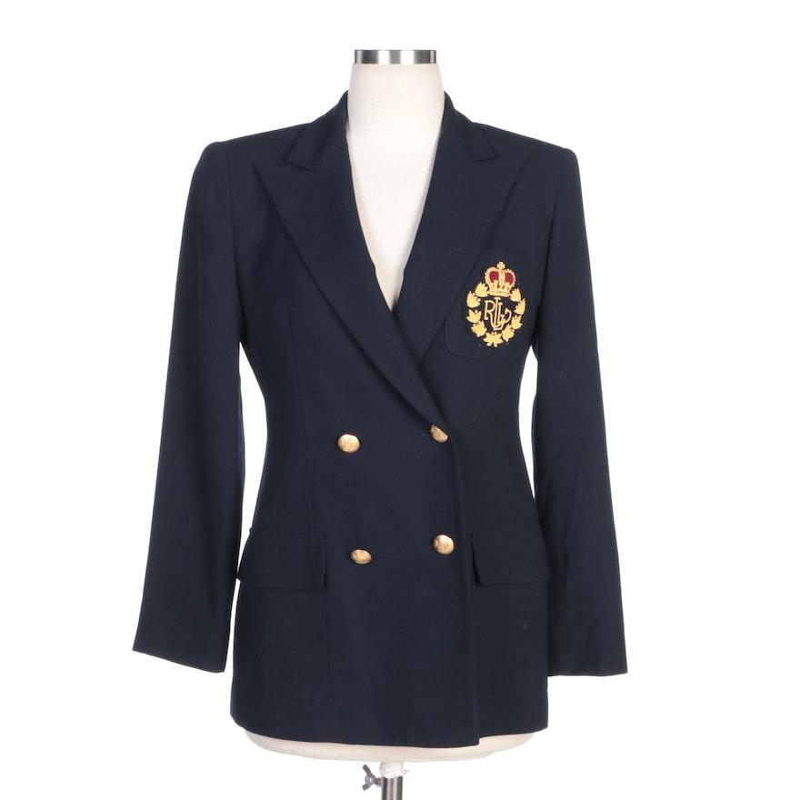Lauren Ralph Lauren Navy Worsted Wool Jacket with Embroidered Crest Logo