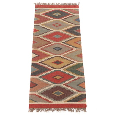 2'7 x 6'5 Handwoven Scandinavian Swedish Kilim Carpet Runner