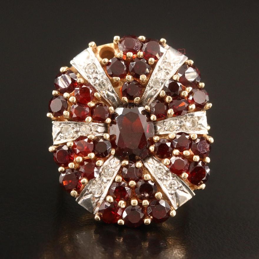 14K Garnet and Diamond Ring