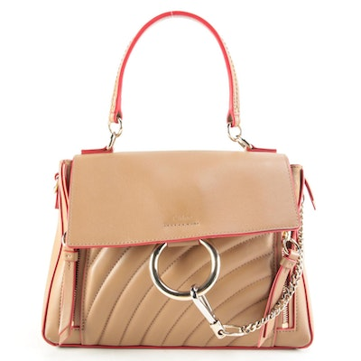 Chloé Small Faye Day Bag in Quilted Leather and Suede with Shoulder Strap