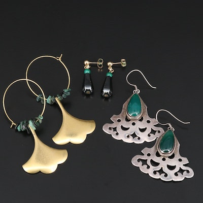 Assortment of Earrings Featuring Chalcedony, Malachite and Hematite