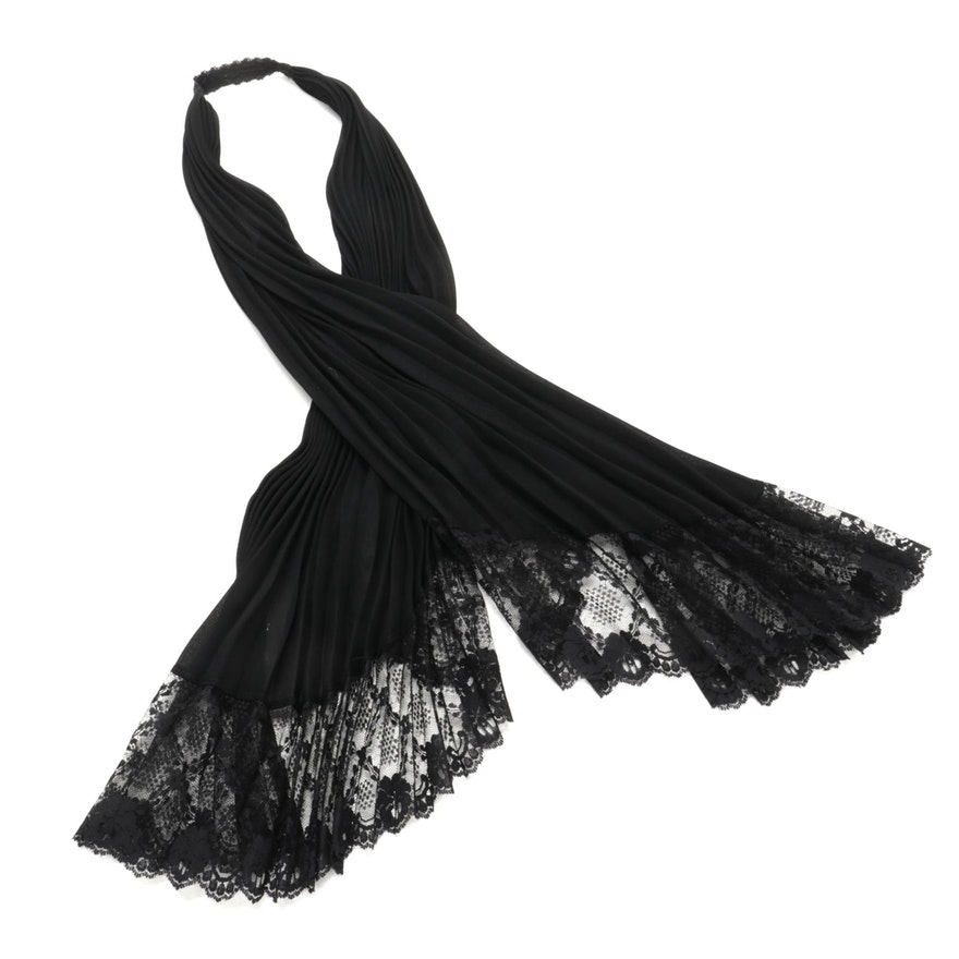 Plissé Pleat Black Chiffon Scarf with Lace Accents