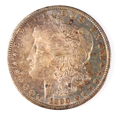 Toned 1890-S Morgan Silver Dollar
