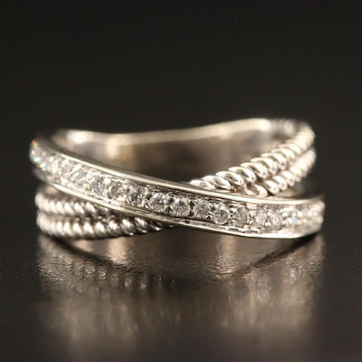14K Diamond Crossover Ring