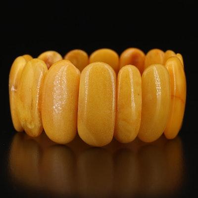 Mutton Fat Amber Expandable Bracelet
