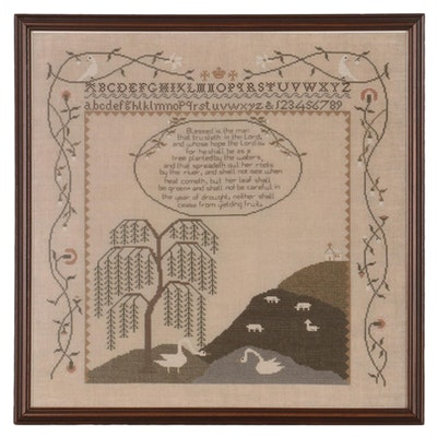 Cross-Stitch Sampler with Alphabet, Landscape, and Verse, Late 20th Century