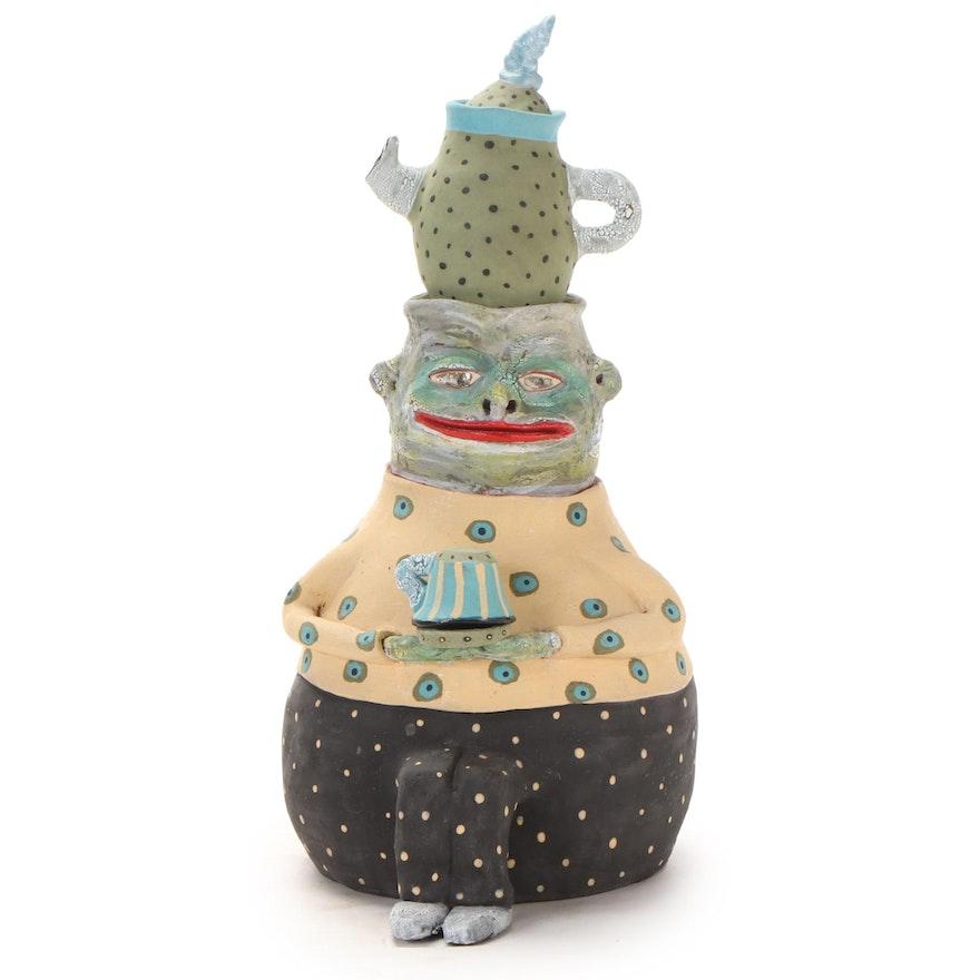 Deb Fleck-Stabley Glazed Terracotta Sculpture of Creature with Tea, 2001