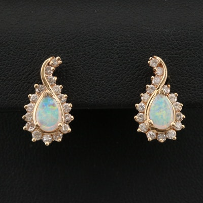 14K Opal and 1.00 CTW Diamond Earrings
