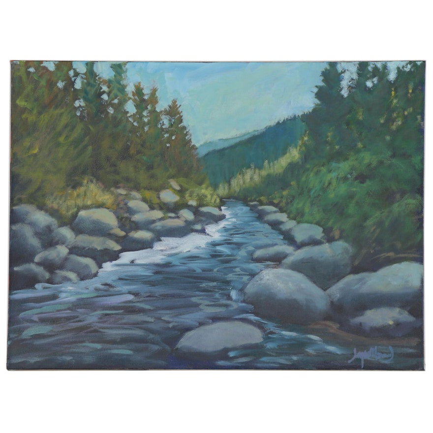 "Jay Wilford Oil Painting ""Where the Trout Are,"" 21st Century"