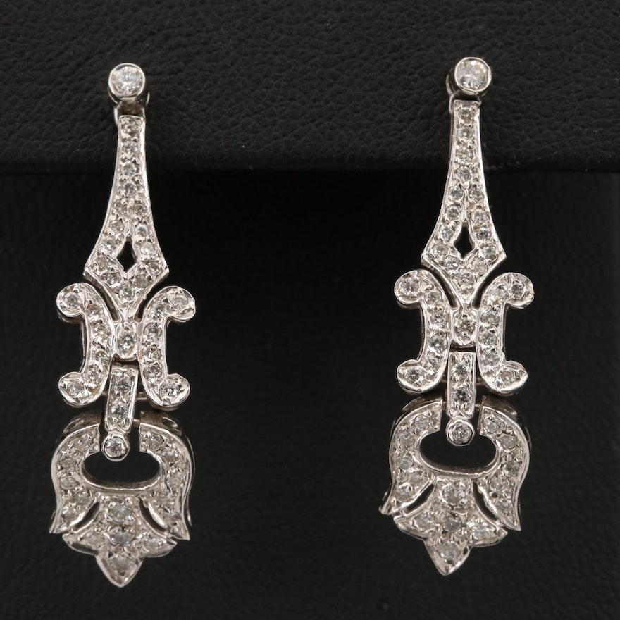 18K 1.00 CTW Diamond Dangle Earrings
