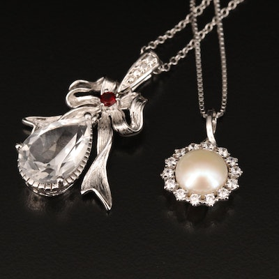 Sterling Necklaces Including Garnet, Pearl and Cubic Zirconia