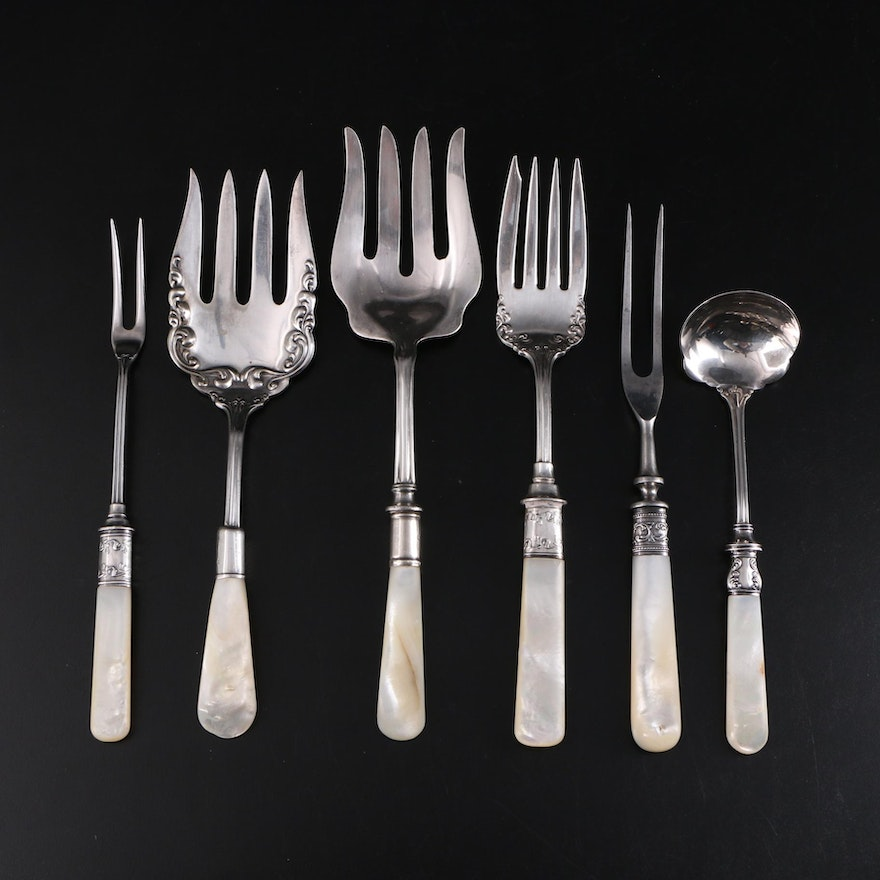 Mother-of-Pearl and Sterling Handled Serving Utensils, Early 20th Century
