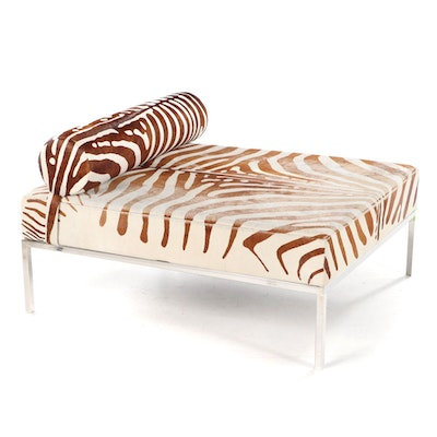 "IdX Chrome Framed Chaise with ""Zebra"" Cowhide Upholstery"