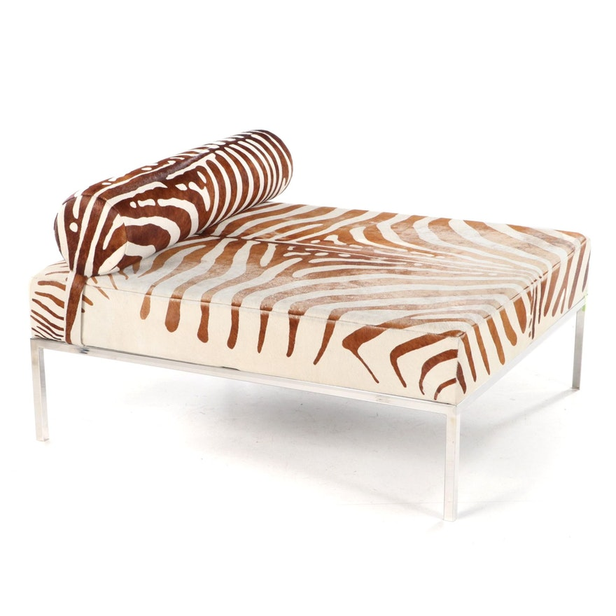 """IdX Chrome Framed Chaise with """"Zebra"""" Cowhide Upholstery"""