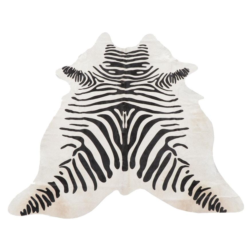 6'4 x 7'3 Brazilian Printed Zebra Cowhide Area Rug