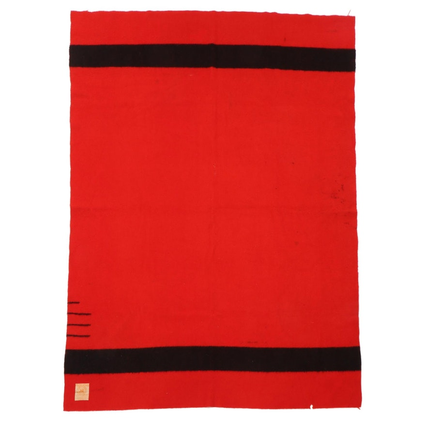 Hudson's Bay Red Wool 3.5-Point Blanket, Late 20th Century
