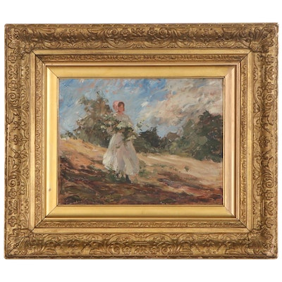 Berthe Des Clayes Impressionist Style Oil Painting, Mid-20th Century