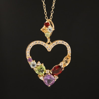 Sterling Amethyst, Garnet and Peridot Heart Pendant Necklace