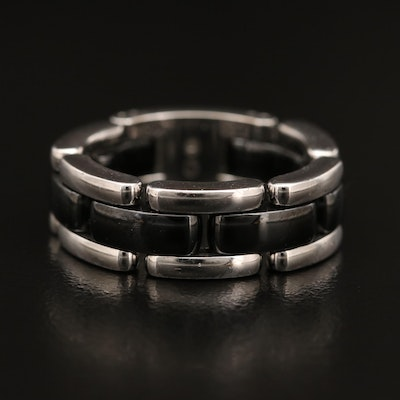 "Chanel ""Ultra"" 18K and Ceramic Flex Chain Ring"