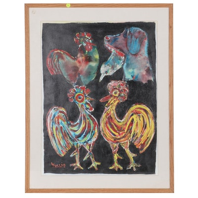 Charles Tullio Acrylic Painting of Chickens and Dog, Late 20th Century