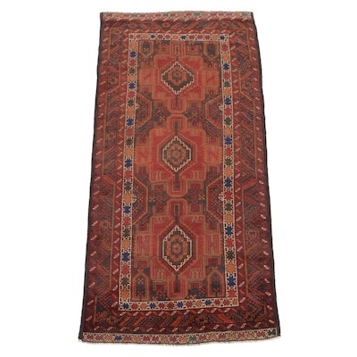 3'1 x 6'11 Hand-Knotted Afghan Taimani Baluch Wool Rug